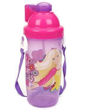 Barbie Eco Push Button Bottle Pink And Purple - 550 ml