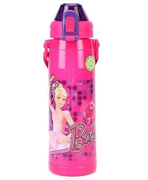 Barbie Push Button Water Bottle DW XL BB1 Dark Pink - 550 ml