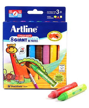 Artline Giant Water Soluable Oil Pastels - 8 Colours