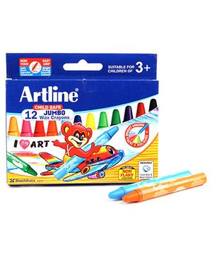 Artline Jumbo Wax Crayons - 12 Colours