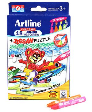 Artline Jumbo Wax Crayons And Jigsaw Puzzle - 18 Colours