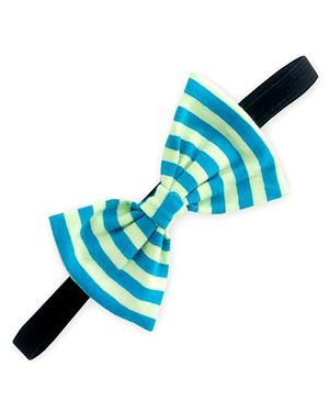 ATUN Striped Print Classic Bow Headband - Light Green And Blue
