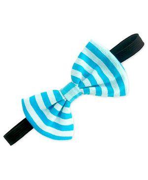 ATUN Striped Print Clasic Bow Headband - Light Blue And Cool Blue