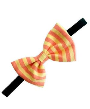 ATUN Classic Striped Bow Headband - Yellow And Orange