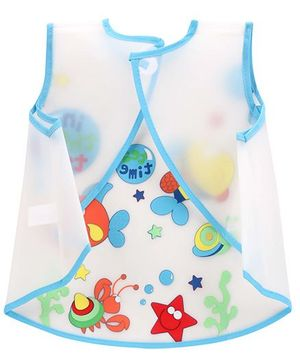 1st Step PVC Plastic Wearable Feeder Bib Tea Time Print - Blue
