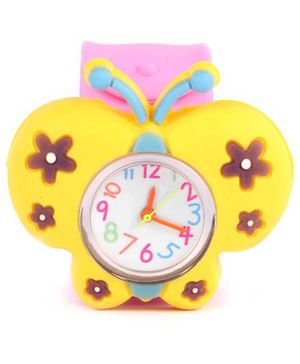 Slap Style Watch Butterfly Design - Pink And Yellow