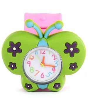 Slap Style Analog Watch Butterfly Design - Green And Pink
