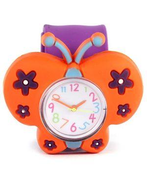 Slap Style Watch Butterfly Design - Orange And Purple