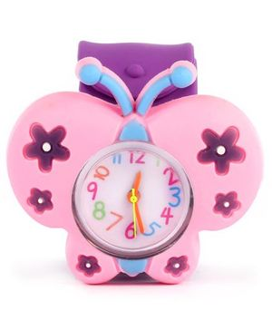 Slap Style Watch Butterfly Design - Pink And Purple