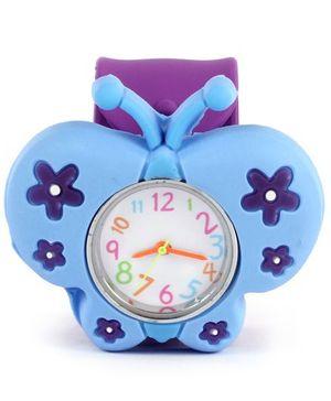 Slap Style Watch Butterfly Design - Blue And Purple
