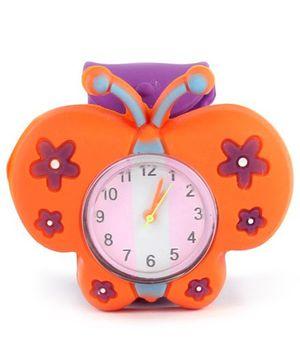 Slap Style Watch Butterfly Design - Orange