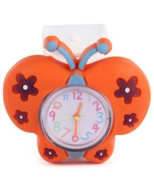 Slap Style Watch Butterfly Design - White And Orange