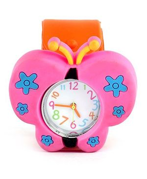 Slap Style Analog Watch Butterfly Design - Dark Pink And Orange