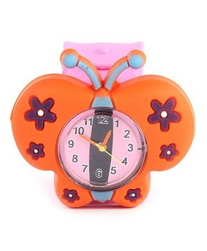 Slap Style Analog Watch Butterfly Design - Orange And Pink