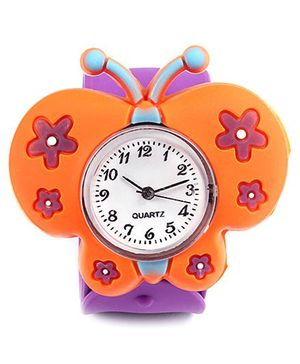 Slap Style Watch Butterfly Design - Orange And Purple