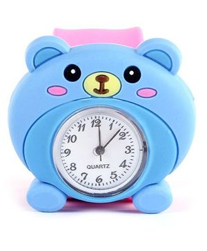 Slap Style Analog Watch Bear Design - Blue And Pink