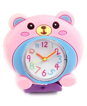 Slap Style Watch Bear Design - Pink And Purple