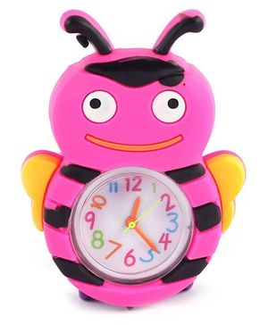 Slap Style Analog Watch Bee Design - Pink And Purple
