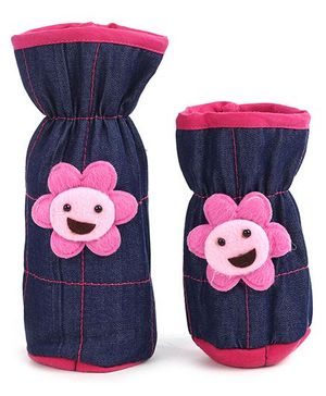 1st Step Denim Bottle Cover Sun Face Motif Set Of 2 - Navy Blue And Pink