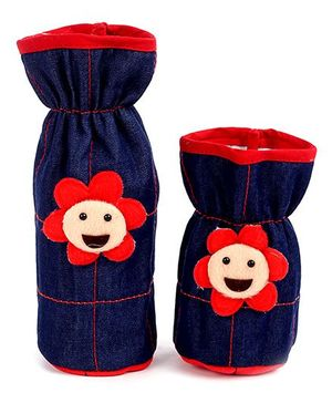 1st Step Denim Bottle Cover Sun Face Motif Set Of 2 - Navy Blue And Red