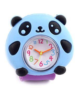 Slap Style Analog Watch Panda Design - Purple And Blue