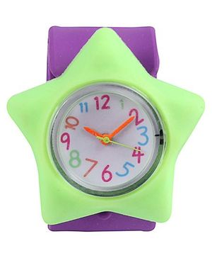 Slap Style Watch Star Design - Purple And Green