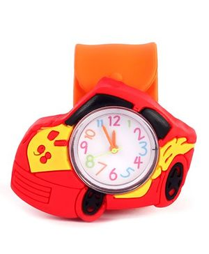 Slap Style Analog Watch Car Design - Orange And Red