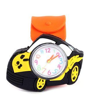 Slap Style Analog Watch Car Design - Orange And Black