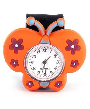 Slap Style Analog Watch Butterfly Design - Orange And Black