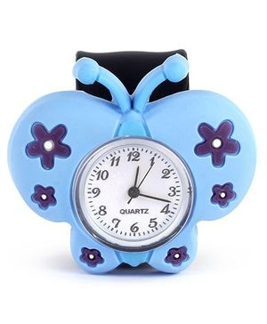 Slap Style Watch Butterfly Design - Sky Blue And Black