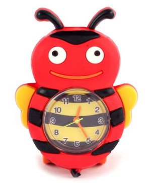 Slap Style Analog Watch Honey Bee Design - Yellow And Red