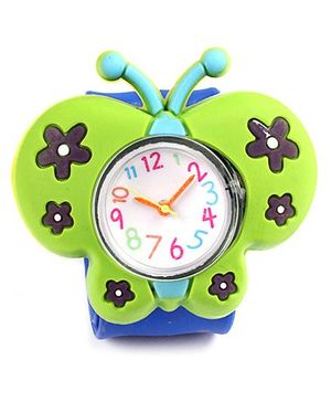 Slap Style Watch Butterfly Design - Green And Blue