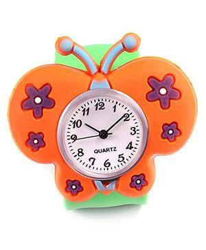 Slap Style Analog Watch Butterfly Design - Orange And Green