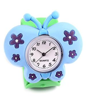 Slap Style Analog Watch Butterfly Design - Blue And Green