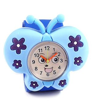 Slap Style Analog Watch Butterfly Design - Sky Blue And Blue