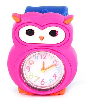 Slap Style Analog Watch Owl Design - Pink And Blue