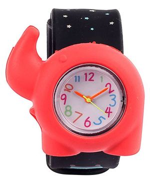 Slap Style Analog Watch Elephant Design - Red And Black