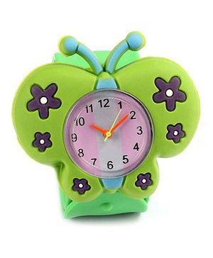 Slap Style Analog Watch Butterfly Design - Green