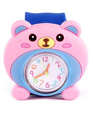 Slap Style Analog Watch Bear Design - Pink And Blue