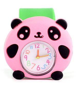 Slap Style Analog Watch Panda Design - Pink And Green