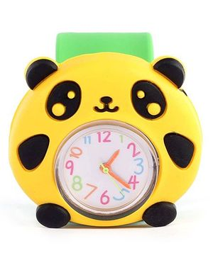 Slap Style Analog Watch Panda Design - Yellow And Green