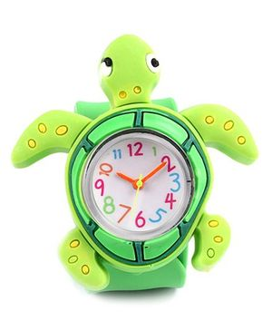 Slap Style Analog Watch Tortoise Design - Green