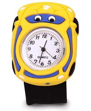 Slap Style Analog Watch Car Design - Yellow And Black