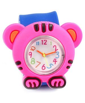 Slap Style Analog Watch Tiger Design - Pink And Blue