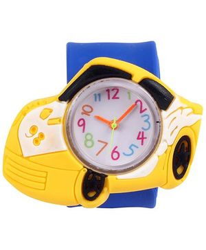 Slap Style Analog Watch Car Design - Yellow And Blue