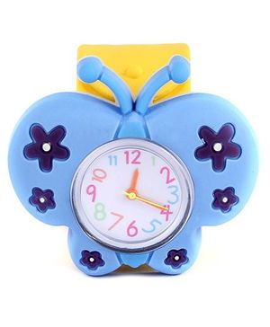 Slap Style Analog Watch Butterfly Design - Blue And Yellow