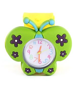 Slap Style Analog Watch Butterfly Design - Green And Yellow