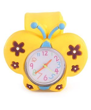 Slap Style Analog Watch Butterfly Design - Yellow