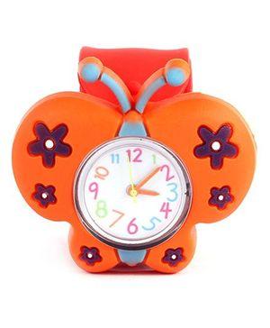 Slap Style Analog Watch Butterfly Design - Orange Red