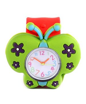 Slap Style Analog Watch Butterfly Design - Green Red